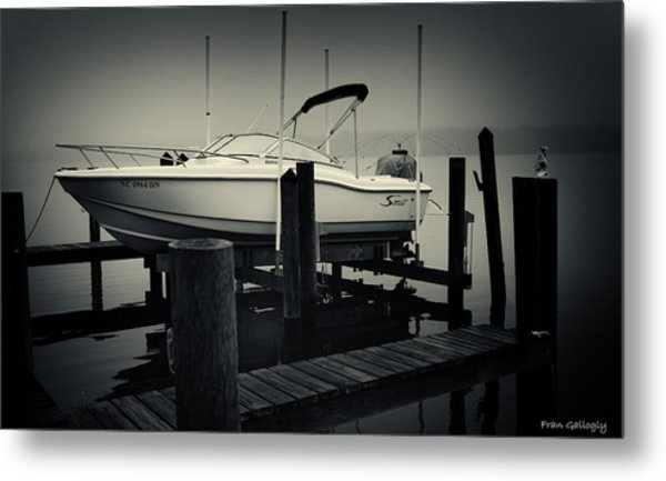 Boston Whaler In The Fog Metal Print