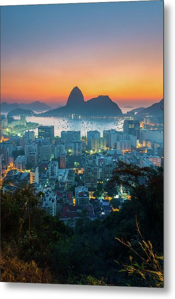 Botafogo Bay With Sugar Loaf At Sunrise Metal Print by Flavio Veloso