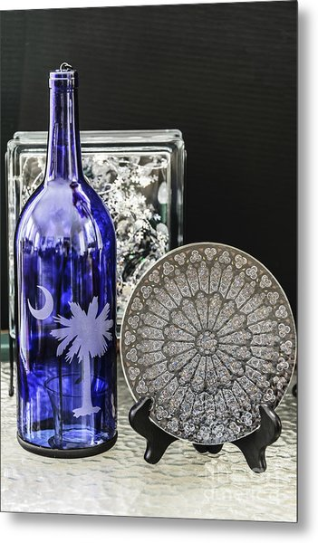 Bottle And Plate Metal Print