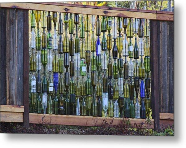 Bottle Fence Metal Print