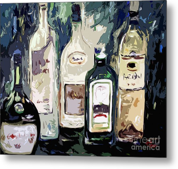 Bottles By Ginette Metal Print