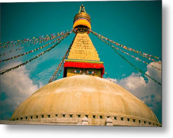 Boudhanath Stupa In Nepal With Blue Sky Metal Print