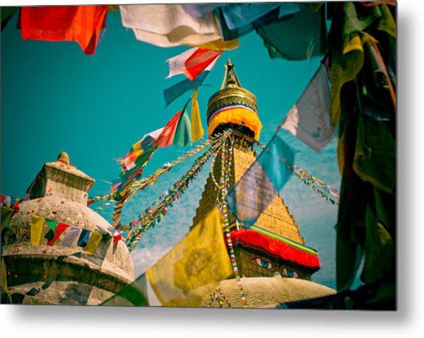 Boudnath Stupa In Kathmandu Nepal Metal Print