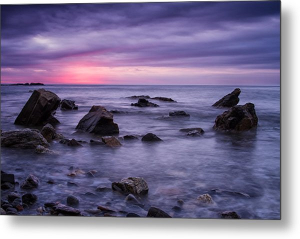 Metal Print featuring the photograph Boulders In The Surf Wallis Sands  by Jeff Sinon