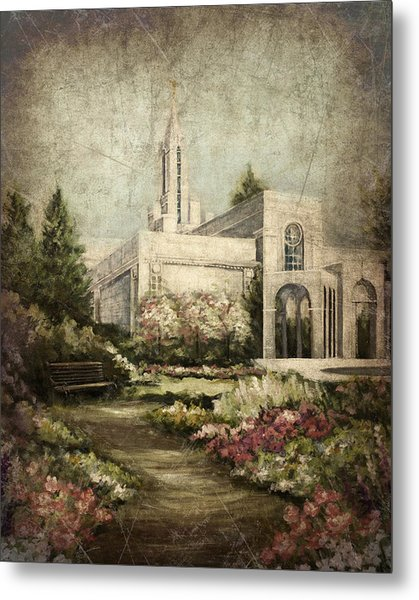 Bountiful Utah Temple-pathway To Heaven Antique Metal Print