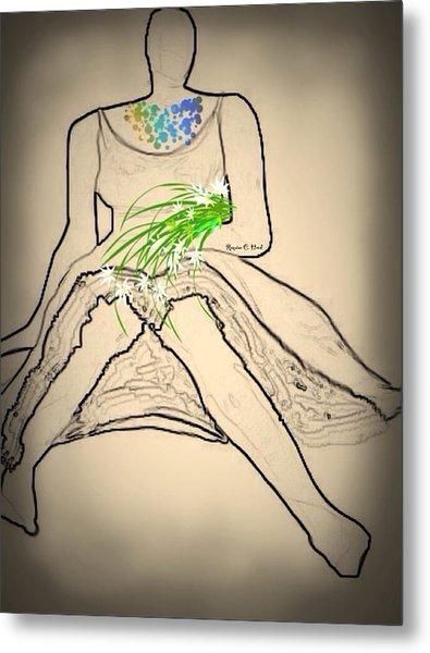 Bouquet-sketch Metal Print by Romaine Head