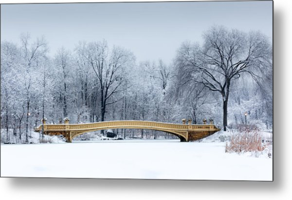 Bow Bridge In Central Park Nyc Metal Print