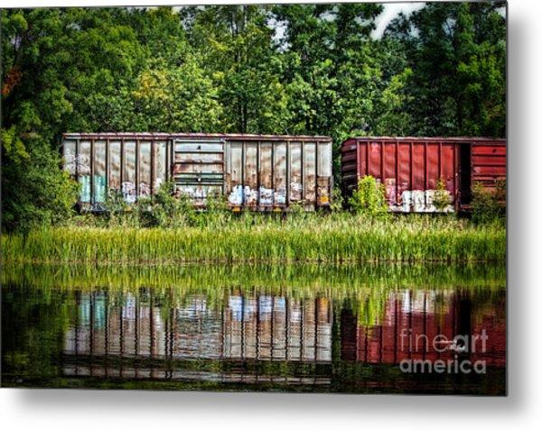 Boxcar Reflection Metal Print