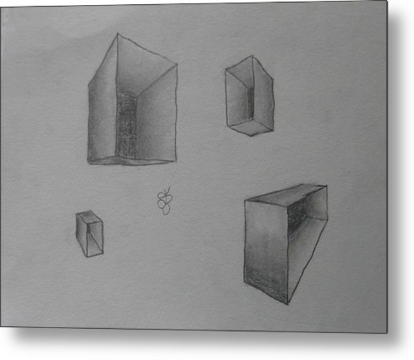 Metal Print featuring the drawing Boxes by AJ Brown