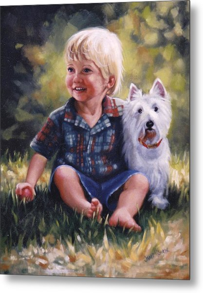 Boy And His Dog Metal Print