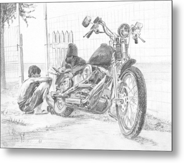 Boy And Motorcycle Metal Print