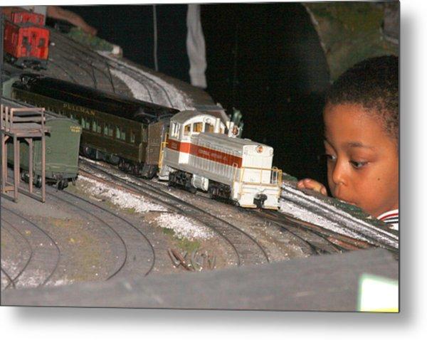 Boy And Train Metal Print by Hugh McClean