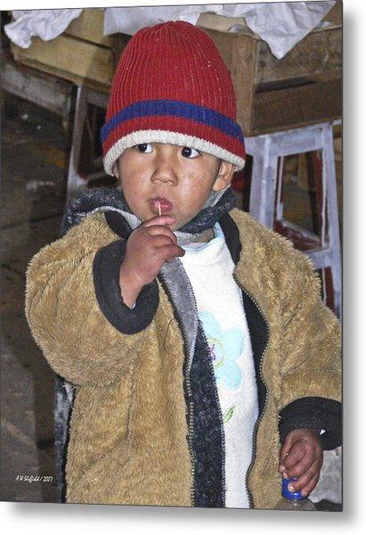 Boy Eating Quail Egg - Cusco Peru Metal Print