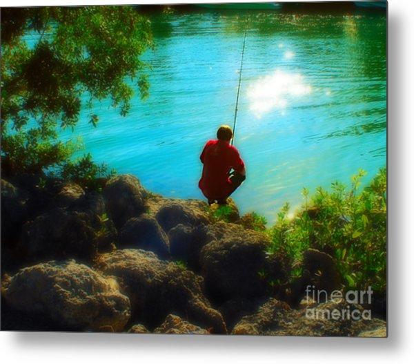 Boy Fishing Metal Print by Andres LaBrada