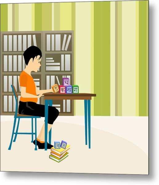 Boy Playing With Alphabet Blocks In A Library Metal Print