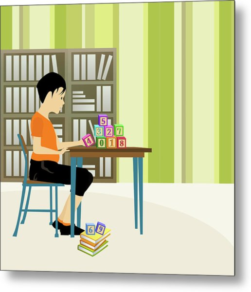 Boy Playing With Number Blocks In A Library Metal Print
