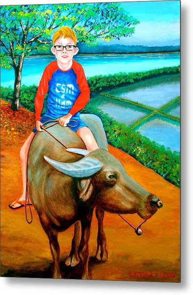 Boy Riding A Carabao Metal Print