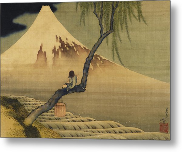Boy Viewing Mount Fuji Metal Print