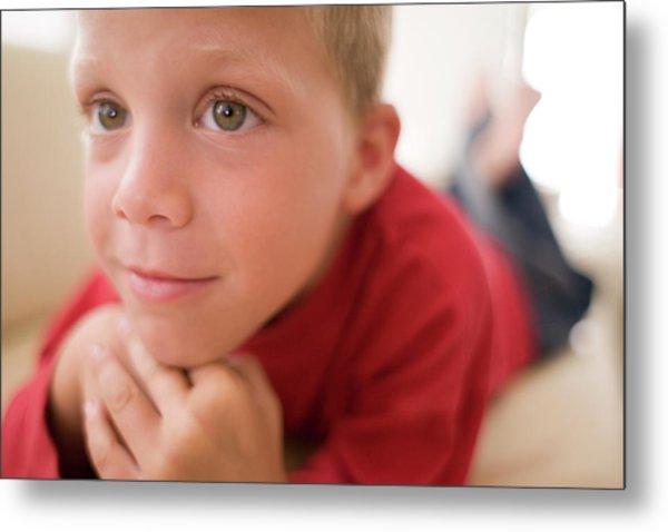 Boy Watching Television Metal Print
