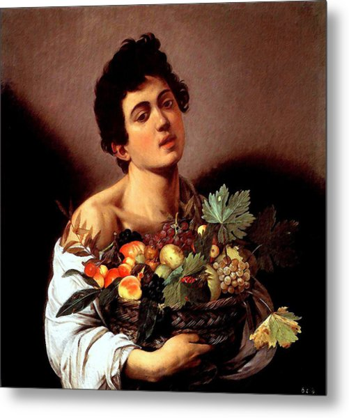 Boy With A Basket Of Fruits Metal Print