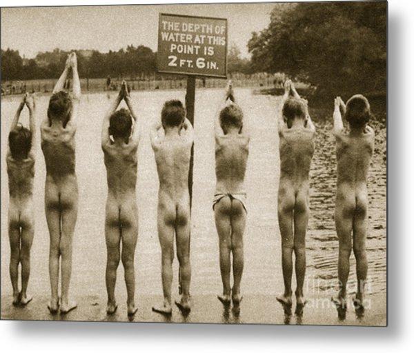 Boys Bathing In The Park Clapham Metal Print