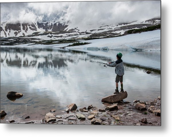 Boys Fish In Superior Lake During A Six Metal Print