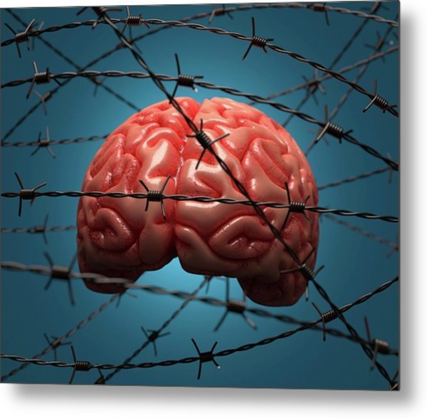 Brain And Barbed Wire Metal Print by Ktsdesign