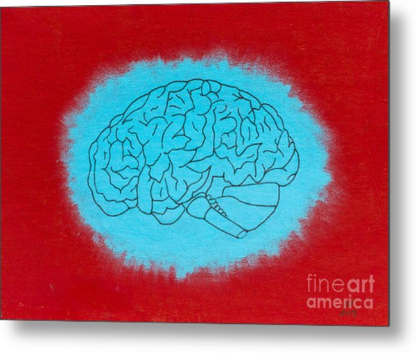 Brain Blue Metal Print