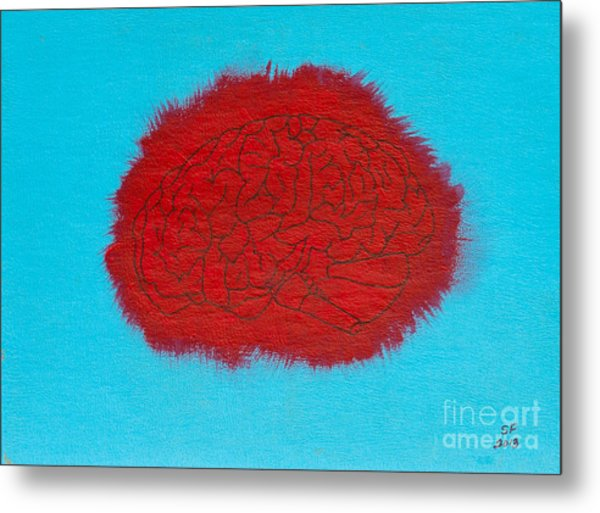 Brain Red Metal Print