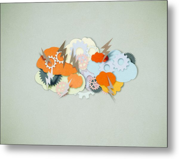 Brainstorming, Paper Cutting Style Metal Print by Tttuna