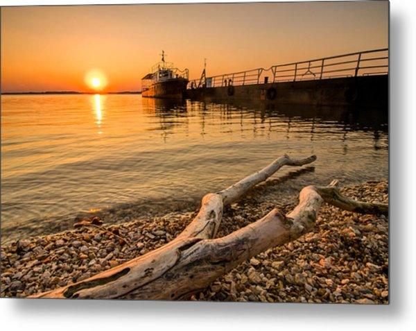 Branch Barge And Sunset Metal Print