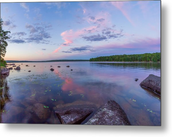 Branch Lake Mirror Sunset Metal Print