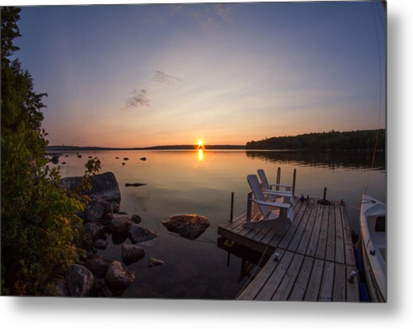 Branch Lake Sunrise In Maine Metal Print