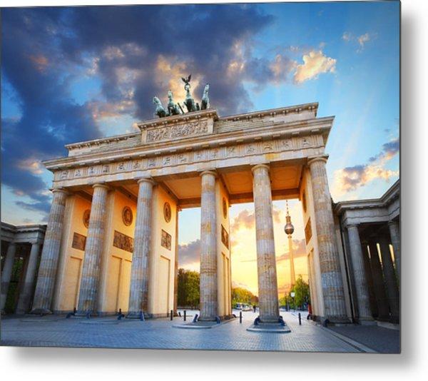 Brandenburg Gate And The Tv Tower In Berlin Metal Print by Narvikk