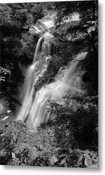Brandywine Falls Black And White Metal Print