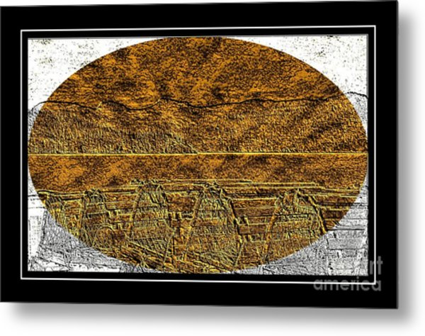 Brass Etching - Oval - Lobster Pots Metal Print