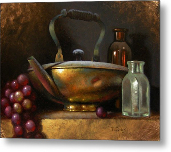 Brass Teapot And Antique Glass Metal Print by Timothy Jones