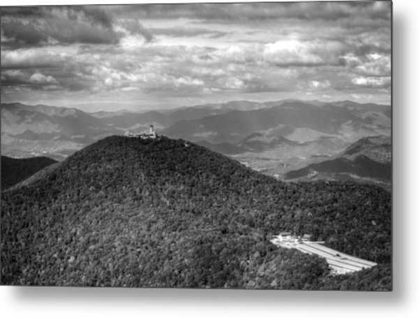 Brasstown Bald In Black And White Metal Print
