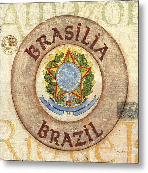 Brazil Coat Of Arms Metal Print