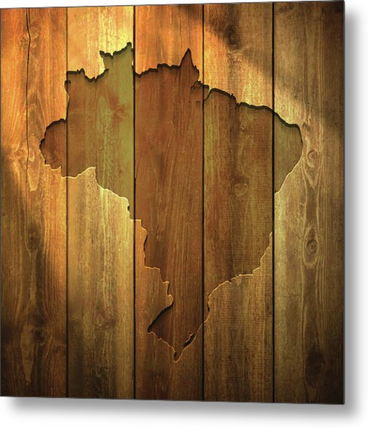 Brazil Map On Lit Wooden Background Metal Print by Bgblue