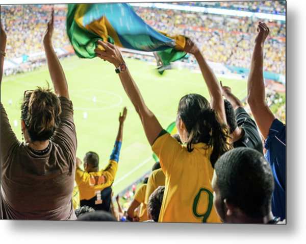 Brazilian Fan Celebrating Goal Metal Print by Ramiro Olaciregui