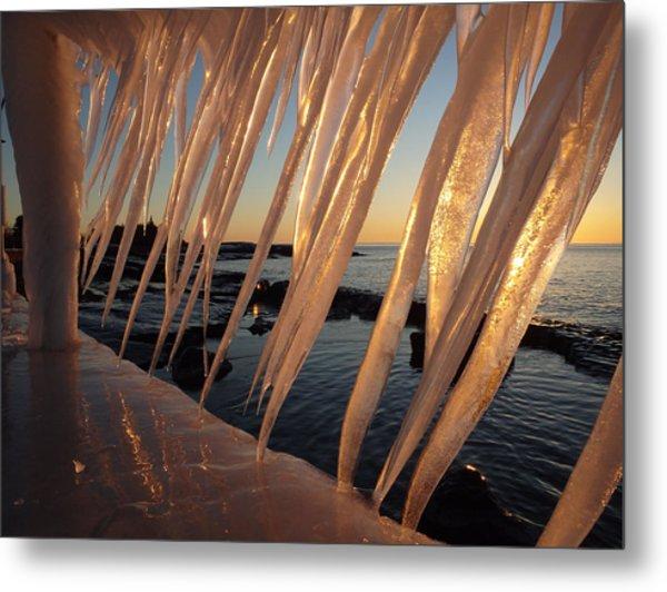 Break Wall Winter Sunrise Metal Print