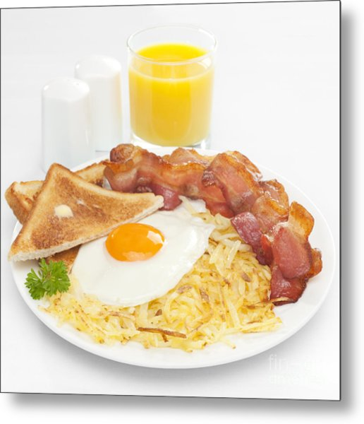 Breakfast Hash Browns Bacon Fried Egg Toast Orange Juice Metal Print