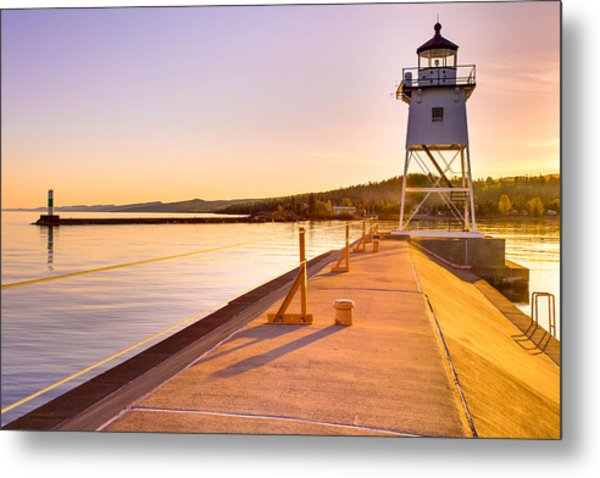 Breakwater Lights Redux Metal Print