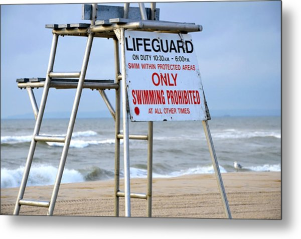 Breezy Lifeguard Chair Metal Print