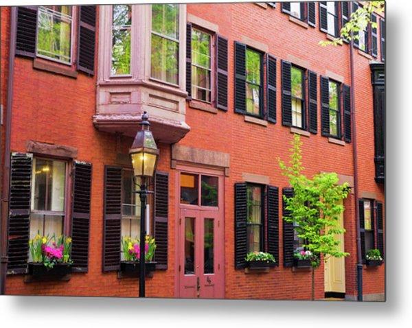 Brick Houses And Gas Street Lamp Metal Print by Russ Bishop