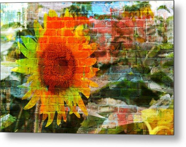 Bricks And Sunflowers Metal Print