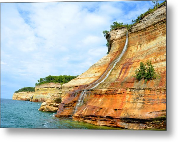 Bridal Veil Falls Pictured Rocks Michigan Metal Print by Forest Floor Photography