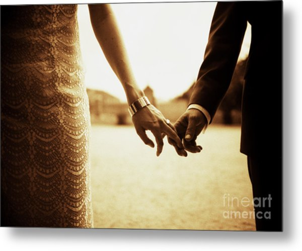 Bride And Groom Holding Hands In Sepia - Analog 35mm Black And White Film Photo Metal Print by Edward Olive