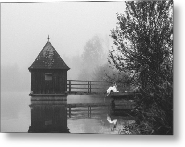 Bride In Foggy Landscape Sitting On A Jetty At A Lake Metal Print by Leander Nardin
